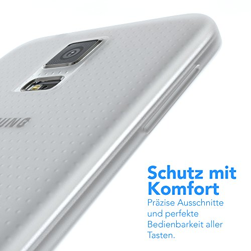 "EAZY CASE Handyhülle für Samsung Galaxy S5 / S5 LTE+ / S5 Duos / S5 Neo Hülle - Premium Handy Schutzhülle Slimcover ""Brushed"" Aluminium Design - Silikon Backcover in brushed Weiß Matt Transparent / Weiß"
