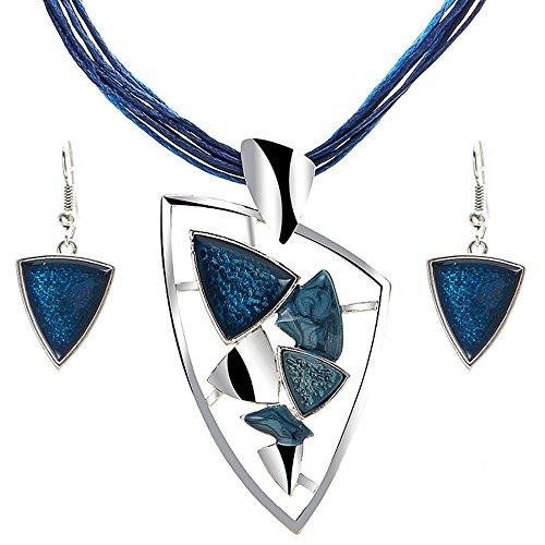 Unbekannt 3 Teiliges Modernes Damen Schmuck-Set Ohrringe + Kette Steine Silber Blau
