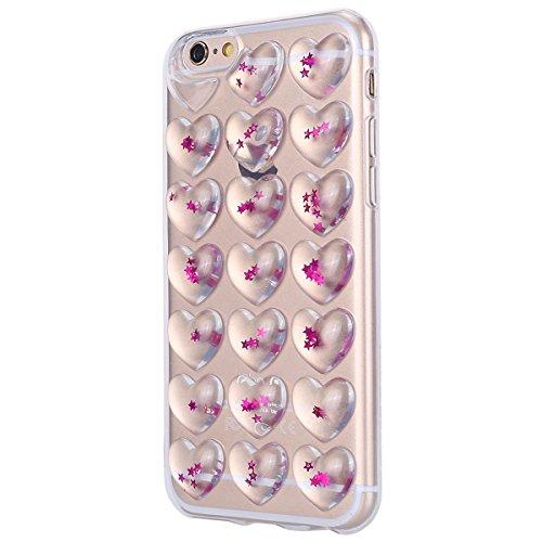 Cover iPhone 6S plus 5.5, Custodia iphone 6 plus Glitter, MoreChioce Moda Ultra Slim 3d Gel Glitter Scintillio a forma di cuore Soft Silicone Gomma Morbido TPU Ragazza Women Trasparente Chiaro Cover  Rosa Stelle