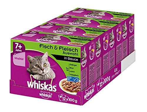 Whiskas Katzenfutter Gemischte Auswahl in Sauce 7+ für erwachsene Katzen, 48 Portionsbeutel, (4 x 12 x 100 g)