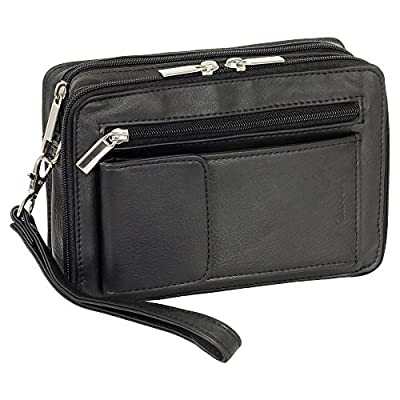 Messieurs de luxe handgelenktasche Sacoche Business avec compartiment de smartphone en cuir fin de Nappa en noir