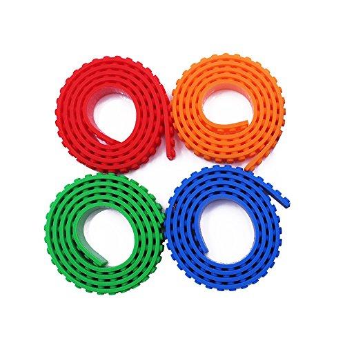 BUWANT 4 Rollen Silikon Block Tape Spielbaustein Band Build Tapes Bauspielzeug Klebeband,Kompatibel Flexibel Selbstklebend,Rot Blau Grün,Orange