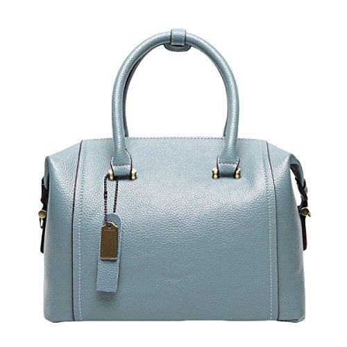 Damen-Art- Und Weiseleder-Beutel-Handtaschen-Schulter-Kurier-Kissen-Kasten-Niet-Reißverschlüsse Blue