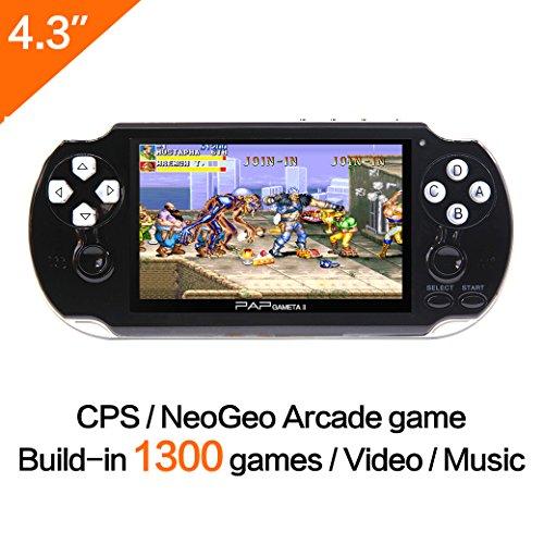 4 Gb High Speed Compactflash Karte (64-Bit-Handspiel -Konsole 4.3 Zoll Built-in 650no Repeat Classic Game Unterstützung AV-Kabel tragbare Spielkonsolen Surpport CPS / NEOGEO / GBA / SFC / MD / FC / GBC / SMS / GG / GB Arcade-Spiele und Video-Musik-Kamera (Schwarz))