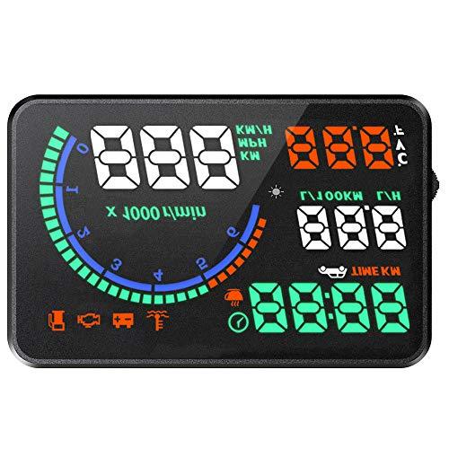 NBKLS Head-Up-Display, hochauflösender, großer HUD-Farbdisplayprojektor mit OBD-Geschwindigkeitsanzeige für Autos