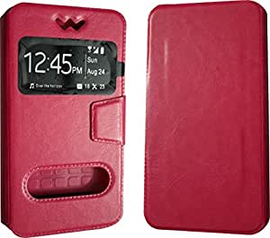 BKDT Marketing Leather finish Flip Cover Case Stand Diary Style for Oppo Mirror 3 with Dislay Window - Pink