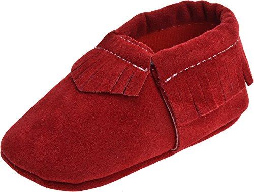 ZOEREA Scarpe Primi Passi Unisex Morbido Suola in Pelle Anti scivolo Mocassini Sneakers per Bimbo Rosso