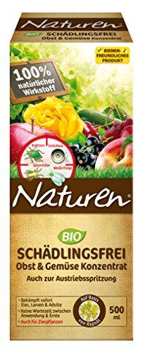 Naturen Bio Schädlingsfrei Obst- und Gemüse Konzentrat, Natürliches Mittel gegen Blattläuse, Spinnmilben, weiße Fliegen, Gallmilben und Schildlausarten sowie Schmierläuse und Wollläuse, 500 ml Flasche