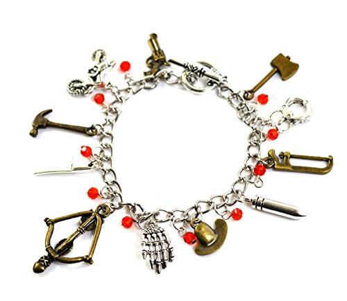 The Walking Dead Charm-Armband–Zombie Anhänger mit Armbrust, Kriegsbeil, Pistole und Rick Grimes Sheriff-Hut (Rick Grimes Kostüm Hut)