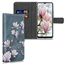 kwmobile Hülle kompatibel mit Huawei Y6p - Kunstleder Wallet Case mit Kartenfächern Stand Magnolien Taupe Weiß Blaugrau