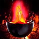 Simulation Flamme Lampe Upxiang LED Brazier Licht Natur Brazier Lampe Flamme Feuer Lichteffekt Hängen Dekorative Geeignet für Kronleuchter Kirche Schloss Gärten Hochzeit Dekorationen (Hängend/Schwarz)