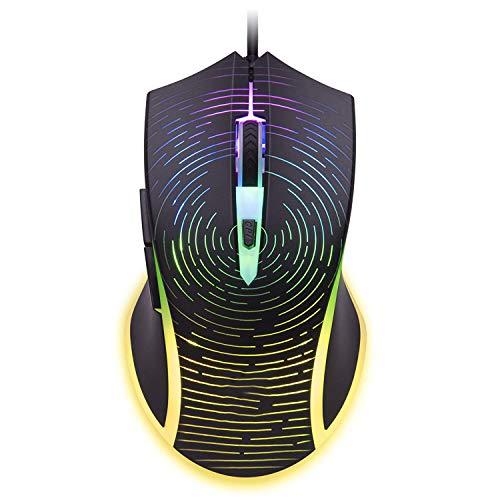 Gaming Maus mit RGB LED Beleuchtung, kabelgebunden, USB Gaming Maus für Computer/PC/Laptop/Mac Book mit 500-7000 DPI optischem Gaming-Sensor und ergonomischem Design mit 8 Tasten