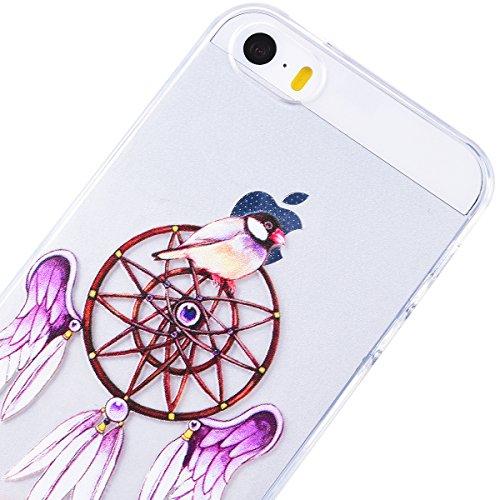 Yokata iPhone 5 / 5s / SE Hülle Transparent Weich Silikon TPU Case Handyhülle Schutzhülle Durchsichtig Clear Backcover Bumper mit Kätzchen Muster + 1 x Kapazitive Feder Lila Campanula