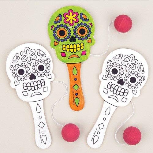 Baker Ross Paddleballschläger Tag der Toten zum Ausmalen als lustiges Spielzeug für Kinder zum günstigen Preis – perfekt als kleine Party-Überraschung für Kinder zu Halloween (4 Stück) (Halloween-taschen Günstige)