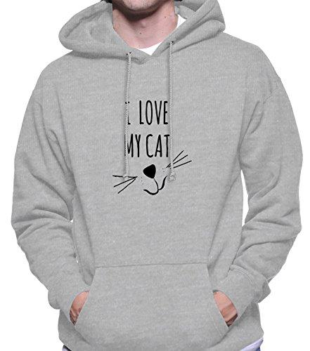Hoodie da uomo con I Love My Cat Phrase Illstration stampa. Small, Grigio