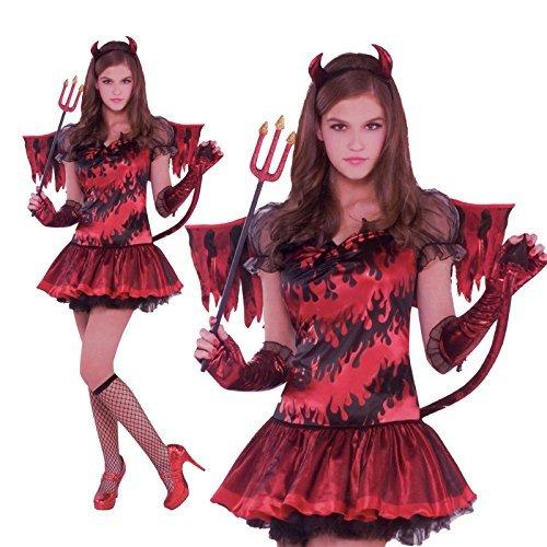 Teufelin Kostüm Gr. 162 Teufel Kostüm Kinder Halloween Mädchen Teenie
