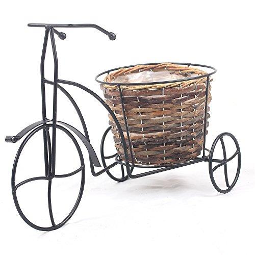 Balcone Terrazzo nostalgico Bicicletta Home Garden Decor impianto di ferro con supporto in vimini intrecciato impianto basket - Basket Weave Planter