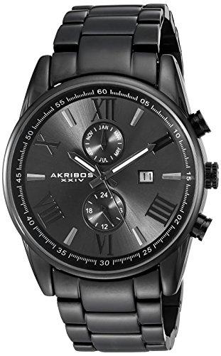 Akribos XXIV AK812BK Orologio da Polso Analogico da Uomo, Cinturino in Acciaio Inossidabile, Nero