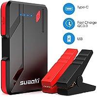 Suaoki P4 - Arrancador de Coche 500A, Jump Starter Arranque Cargador de Batería con Pinzas Inteligentes (Hasta 5.0L Gas o 2.0L Diesel Motor, con USB Tipo C(5V/3A) QC 3.0 Puertos de Carga Rápida, 3 Modos de LED Multi Protecciones)