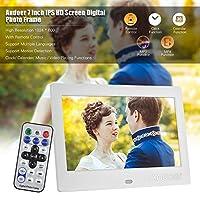 شاشة Honorall 7 بوصة IPS HD قياس 1024 * 600 إطار صور رقمي للألبوم يدعم الموسيقى والفيديو المنبه وظائف تقويم متعدد اللغات مع جهاز تحكم عن بعد UK Plug LMZHONORALLD5486W-UKSA
