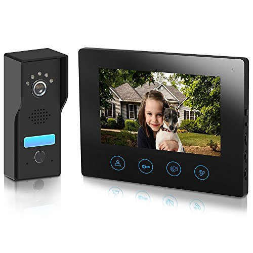 Metecsmart Video Intercom Doorbell 7inch Monitor - 4-Wired Camera Video Door Phone Kit 1-Metal-Camera 1-Monitor Night Vision Touch Button Screen - No Wi-Fi & APP (7'' Black)