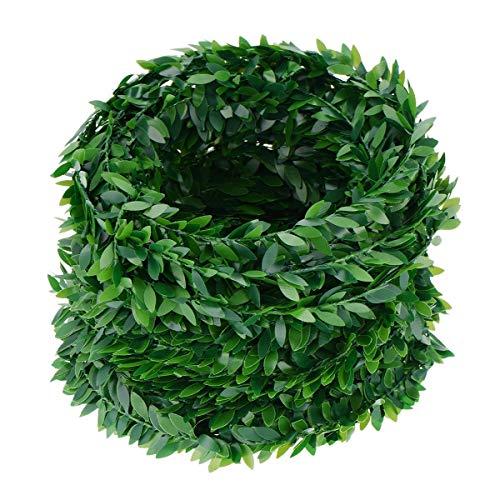 Laub Grün Blätter Simuliert Rebe Künstliche Pflanzen für Hochzeitsfeier Zeremonie DIY Stirnbänder 7,5m ()