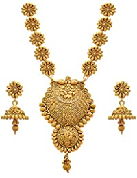 e9eec477d JFL - Jewellery for Less Golden One Gram Gold Plated Necklace Set For Women
