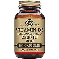 Solgar Vitamin D3 (Cholecalciferol) 2200 IU  (55 µg) Vegetable Capsules - Pack of 100