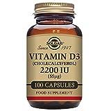 Solgar Vitamin D3 (Cholecalciferol) 2200 IU Vegetable Capsules, 100 V Caps 2200 IU