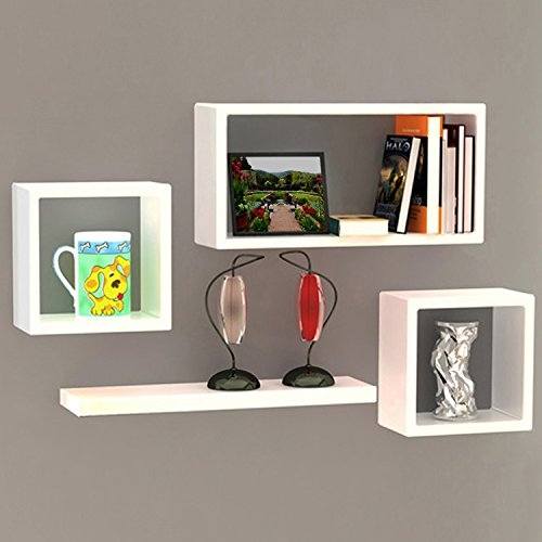 White Wooden Wall Shelf Set Of Four