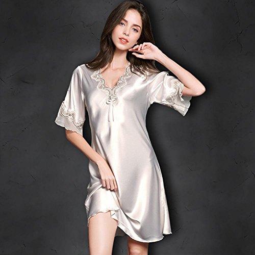 Nsy pigiama estate delle donne di seta a maniche corte in pizzo sexy di seta allentata grande sottile camicia da notte di seta di seta servizio a domicilio