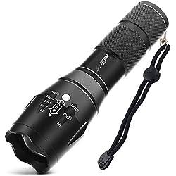 HIILIGHT LED Taschenlampe 2000 - Extrem Hell mit Zoom Funktion - Ideal für den Indoor und Outdoor Einsatz, Schwarz