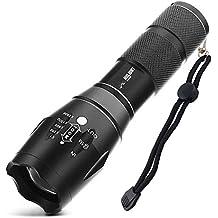 HIILIGHT LED Taschenlampe 2000 Extrem Hell - CREE XM-L T6, Zoombar, Einstellbarer Fokus, Batterie oder Akku Schwarz