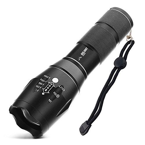 feuerwehr holster HIILIGHT LED Taschenlampe 2000 - Extrem Hell mit Zoom Funktion - Ideal für den Indoor und Outdoor Einsatz, Schwarz
