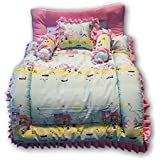 Pinks & Blues New Born Baby full sleeping (KING SIZE) cotton printed bedding set with 2 side frilled pillows (PINK-SKY) 0 - 30 months