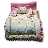 #9: Pinks & Blues New Born Baby Full Sleeping (King Size) Cotton Printed Bedding Set with 2 Side Frilled Pillows (Pink-Sky) 0-60 Months