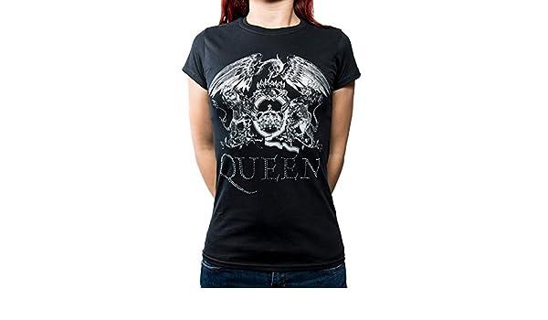 b45c1b08225a23 Queen Damen Frauen T-Shirt Shirt Band Merchandise Merch Fanartikel Logo  Schwarz Glitzer Strass (XL): Amazon.de: Bekleidung