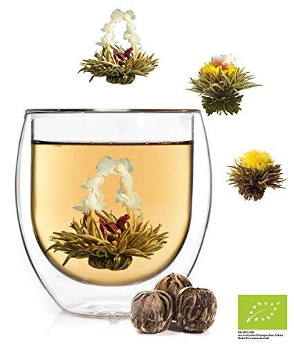 geschenke mit tee Feelino 1x 410ml Jumbo XXL doppelwandiges Thermoglas + 3x BIO-Teeblumen aus weißem Tee mit natürlichen Blüten / doppelwandiges Thermo Glas mit Schwebe-Effekt