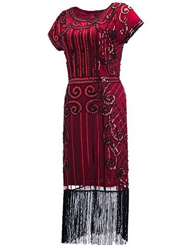 Jahre Kleider Der Vintage 1920er (Clothin Damen 1920er Stil Pailletten Perlen Fransen Flapper Kleid Vintage inspiriert Great Gatsby Kleid Gr. XX-Large, Q4)