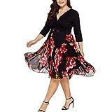 Streetwear Kleid VENMO Damen festliche elegant Kleid Plus Size Damen Knielang Retro V-Ausschnitt Höhe Taille (XXXXL, Black)