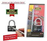 BURG WÄCHTER Vorhängeschloss LOOK+write Farbe schwarz - Schloss + 2 Schlüssel + Stift 402 50 SB