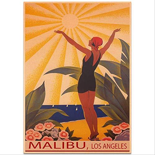 hzcl Wandtattoo,Malibu Sommer Reise Poster Wand Kunst Aufkleber Vintage Kraft Papier Cafe Pub Bar Hotel Dekor Von Hand Bemalt Landschaft Bild 42x30cm D