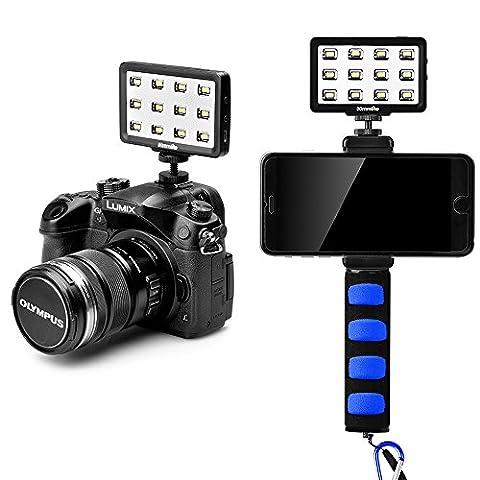 Commlite CM-PL12II Super Bright CRI> 95 Mini LED multifonction réglable avec lumière vidéo avec 3 diffuseurs pour téléphone intelligent, appareil photo Samsung et DSLR Canon, Nikon, Panasonic (CM-PL12BII)