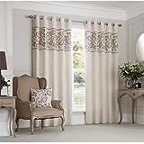Just Contempo - Cortinas forradas con aros, diseño bordado a mano de hojas, poliéster, beige, 2 cortinas 168 x 183 cm (salón)