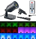 Lunartec Sternenprojektor: Laser-Projektor mit 12 LEDs, 8 Licht-Effekte, Timer, Fernbed, IP65 (Garten Laser)