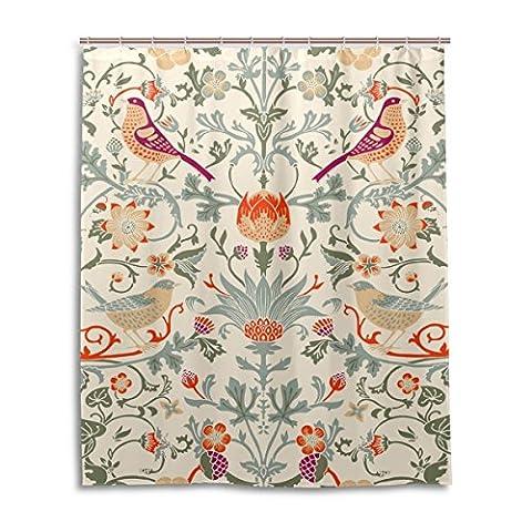 baihuishop William Morris Blume Muster Badezimmer Duschvorhang 152,4x 182,9cm mit 12Haken Schimmelfest Polyester Stoff