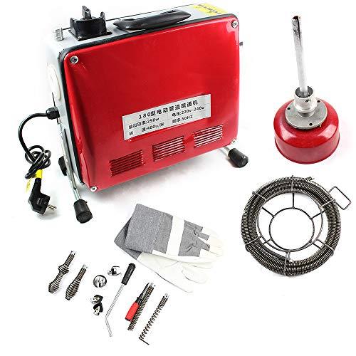 250W Rohrreinigungsmaschine, Elektrische Rohrreiniger Hochdruckreinigungsmaschine Drain Cleaner Reinigung Werkzeug 20-100mm 400 u/M