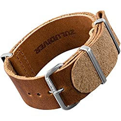 ZULUDIVER® USA Leather NATO Watch Strap with Satin Hardware 20mm or 22mm