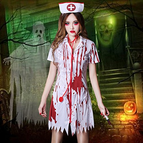 l Cosplay Kostüm Ghost Festival Horror Bloody Nurse Doctor Adult (Ghost Nurse Kostüm)