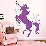 Wall Tattoo Loft Unicorn with Stars - 35 x 48 cm, Silver Grey, Vinyl